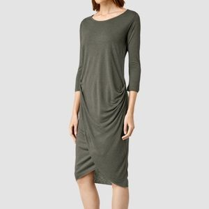 All Saints Warp Dress Khaki Sz 2